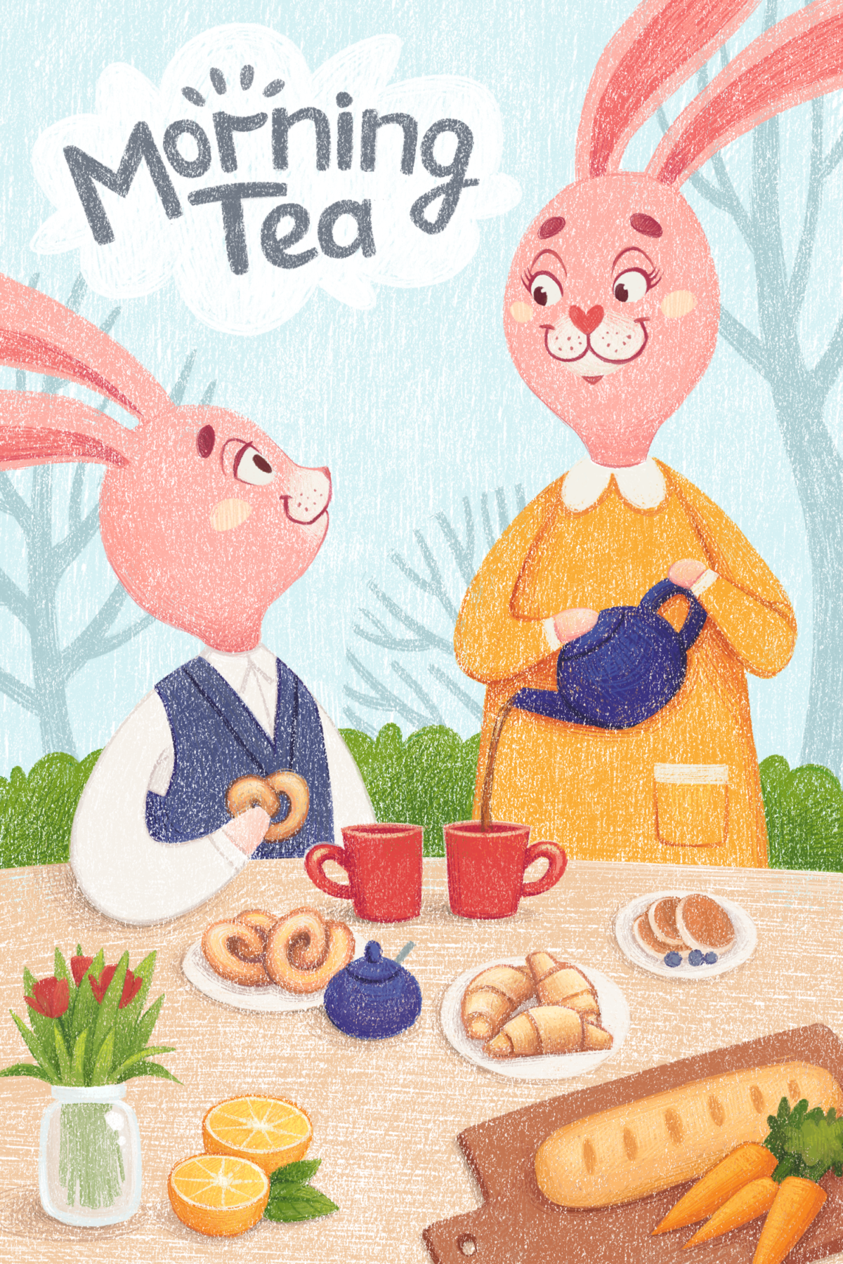 Children's illustration with bunnies drinking tea by Margarita Levina