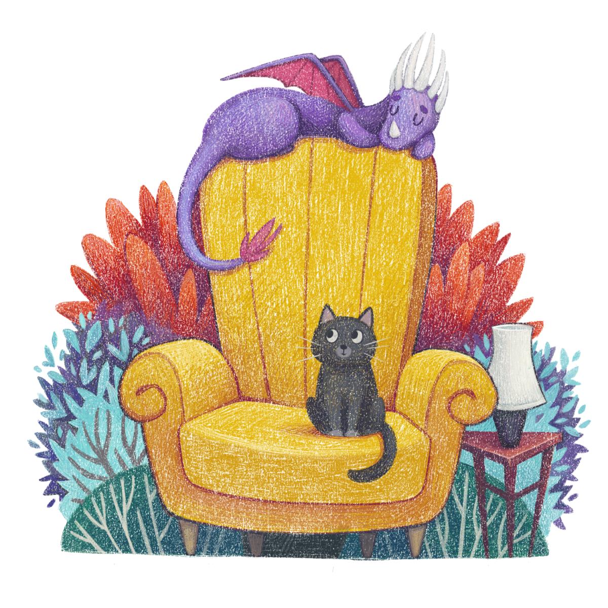 Armchair Dragon - children's book illustration by Margarita Levina
