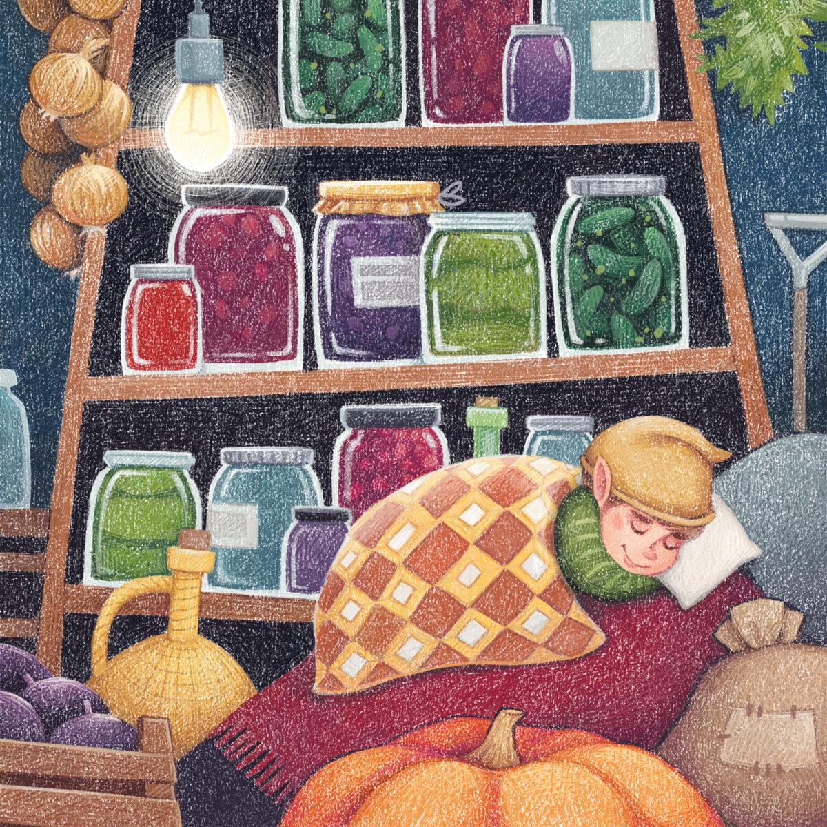 House Elf October - children's illustration by Margarita Levina