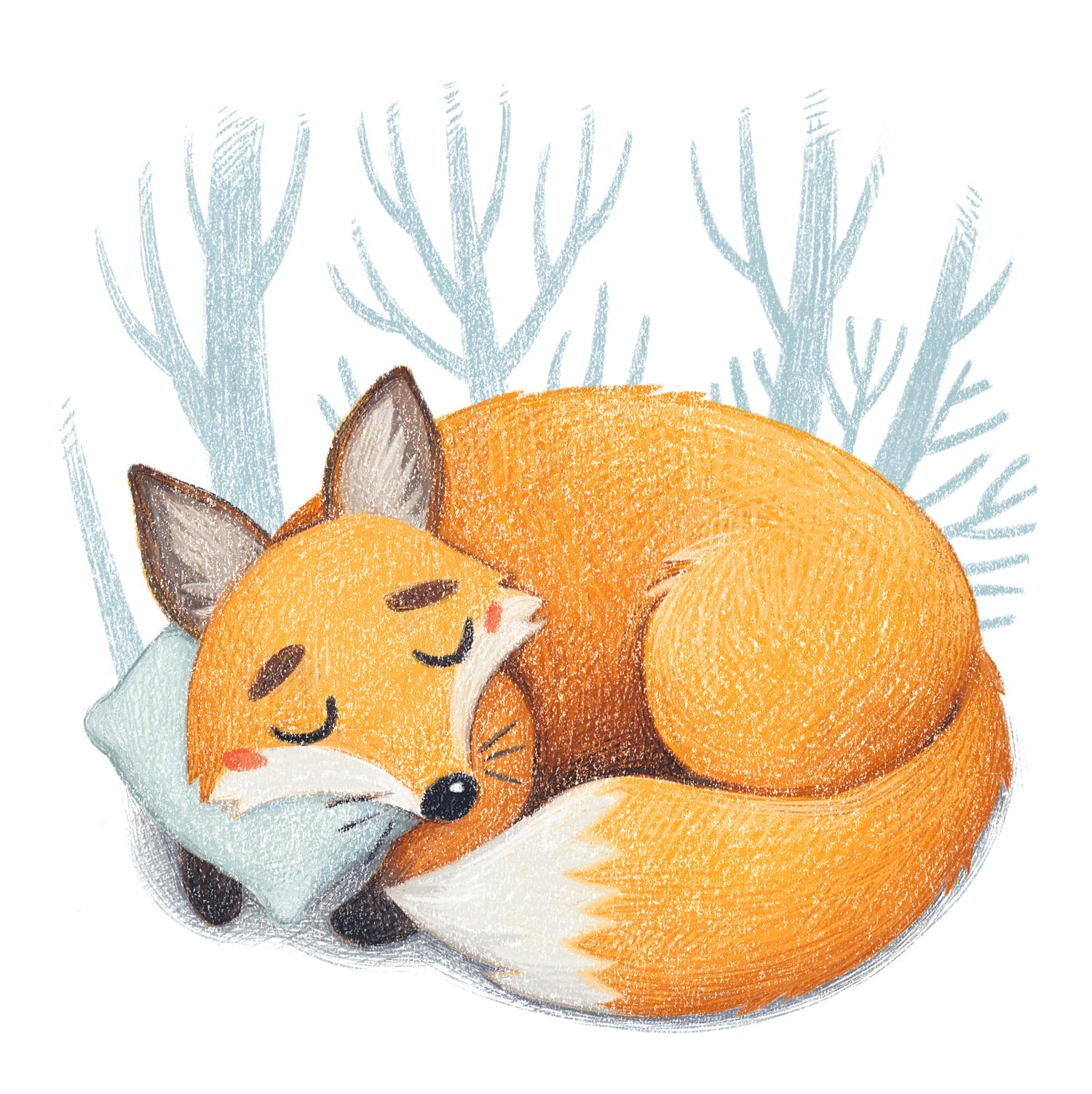 Children's illustration Sleeping Fox by Margarita Levina