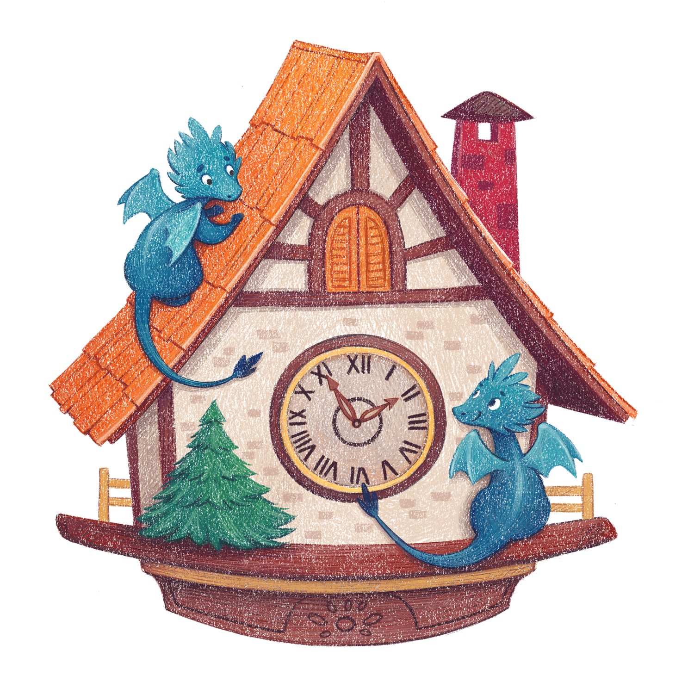 Little Clock Dragons - children's book illustration by Margarita Levina