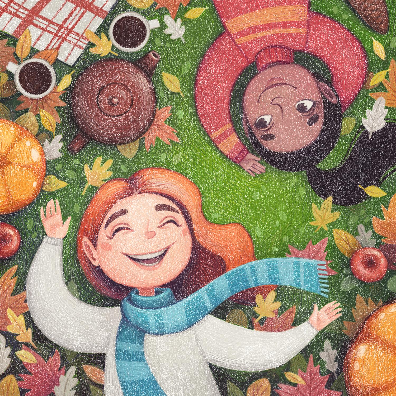 Autumn days - children's book illustration by Margarita Levina