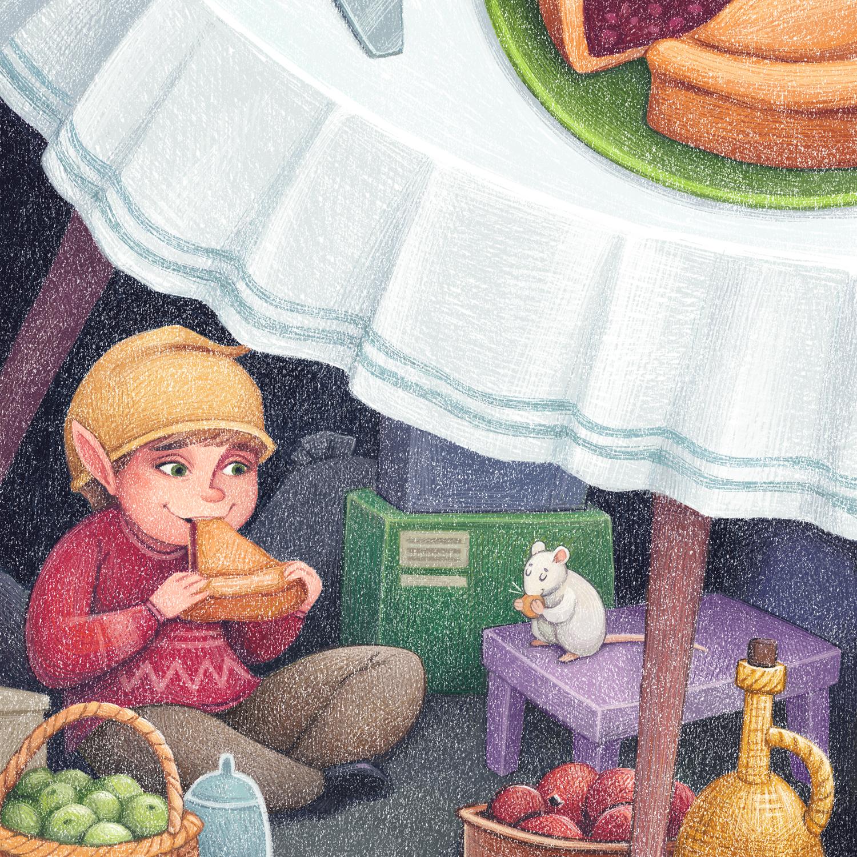 House Elf November - children's illustration by Margarita Levina