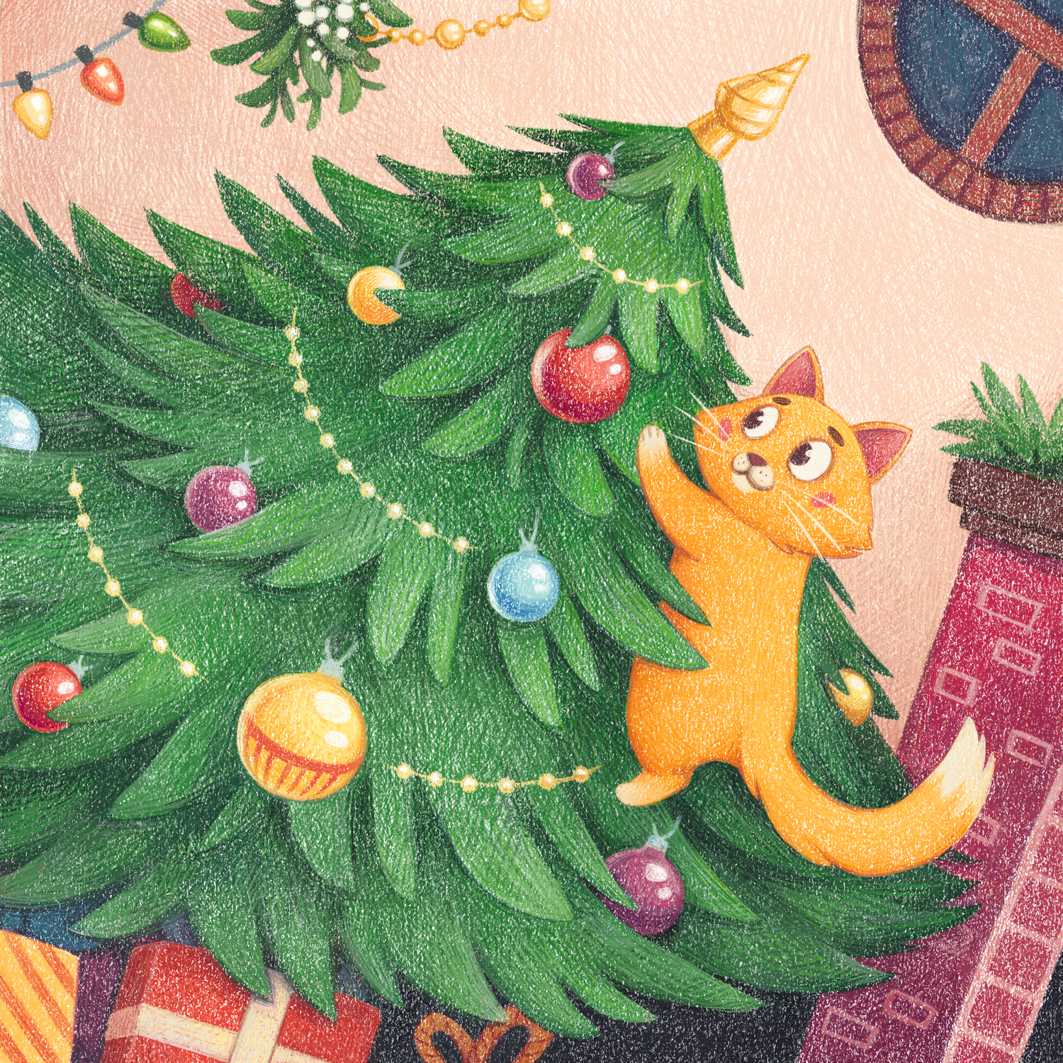 Christmas illustration with cat on the christmas tree by Margarita Levina